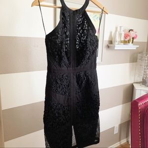 Lace embroidered halter neck mesh dress sz small
